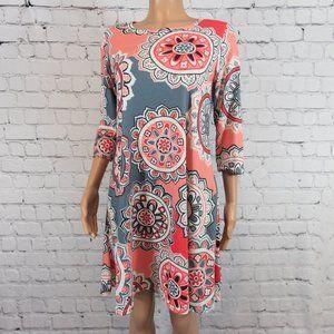 Pink and grey print smock dress